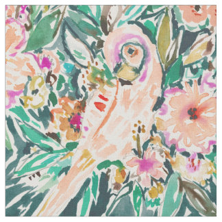 PRETTY BIRD Floral Parrot Watercolor Fabric