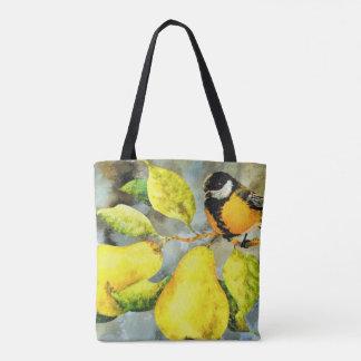 Pretty  bird Pear tree tote bag