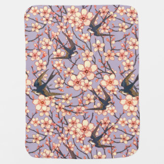 Pretty birds and blossoms baby blanket