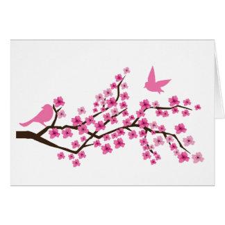 Pretty birds on cherry blossom branch card