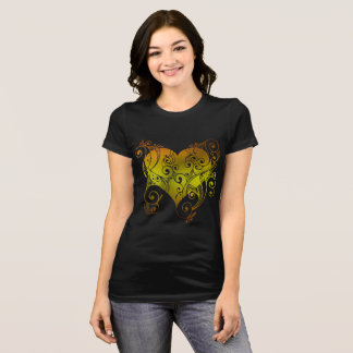 Pretty Black and Gold Tribal Heart Women's Shirt