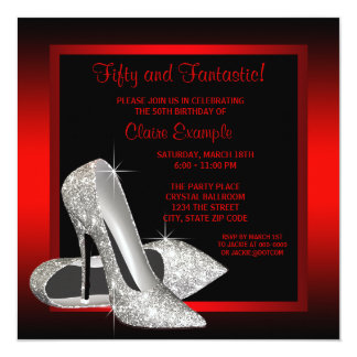 Pretty Black and Red Glitter High Heels Birthday 13 Cm X 13 Cm Square Invitation Card