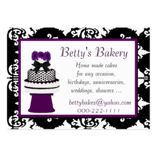 Pretty Black and White Damask Bakery Business Card