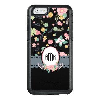 Pretty Black Floral Customizable Monogram OtterBox iPhone 6/6s Case