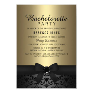 Pretty Black & Gold Bow Bachelorette Party Invite