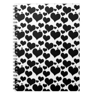 Pretty Black Hearts on White for your Valentine Notebook