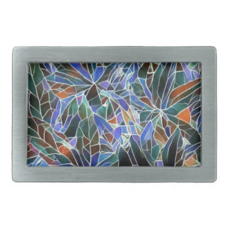 Pretty Black Lavender Artistic Stained Glass Belt Buckle