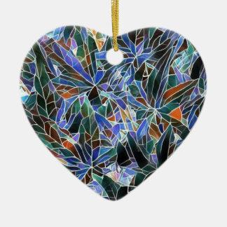 Pretty Black Lavender Artistic Stained Glass Ceramic Ornament