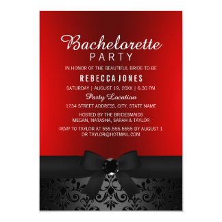 Pretty Black & Red Bow Bachelorette Party Invite