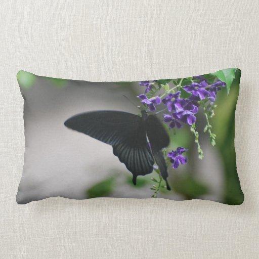 Pretty Black Swallowtail Butterfly Throw Pillow