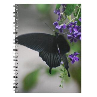 Pretty Black Swallowtail Butterfly Spiral Notebook