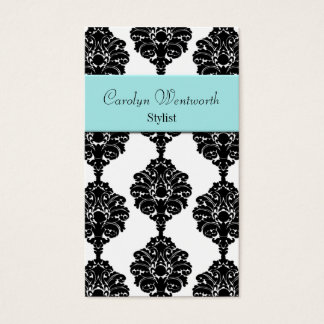 Pretty Black, white and Aqua Damask Business Card