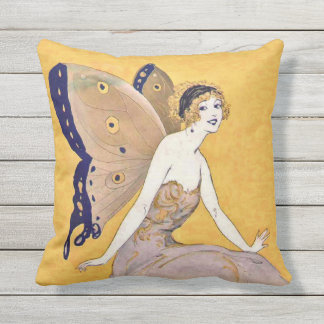 Pretty Blond Fairy Monarch Butterfly Wings Yellow Cushion