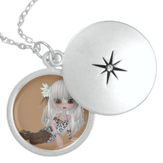 Pretty Blond Girl Sterling Silver Round Necklace