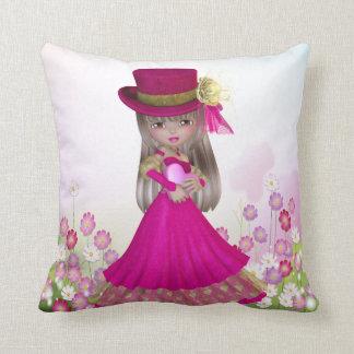Pretty Blond Princess Girl Holding a Heart Pillow