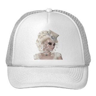 Pretty Blond Woman Wearing a Beige Hat
