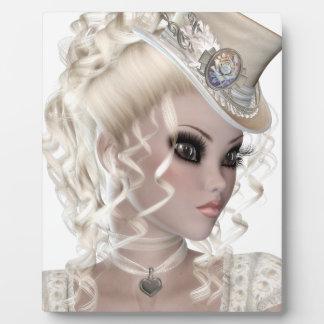 Pretty Blond Woman Wearing a Beige Hat Display Plaque