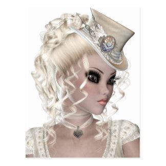 Pretty Blond Woman Wearing a Beige Hat Postcard