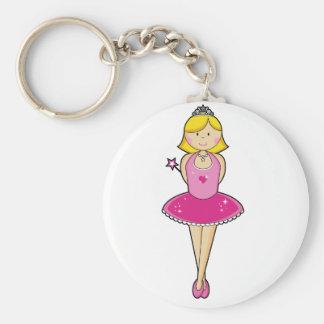 Pretty Blonde Ballerina in Pink Basic Round Button Key Ring