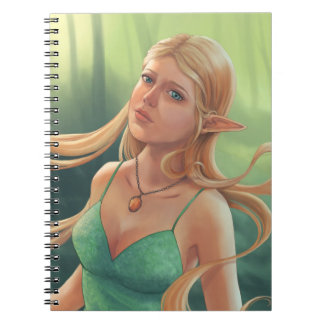Pretty Blonde Elven Girl in Green Dress Notebook