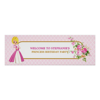 Pretty Blonde Princess Birthday Party Banner Poster