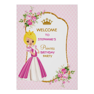 Pretty Blonde Princess Birthday Party Poster
