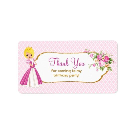 Pretty Blonde Princess Birthday Thank You Labels