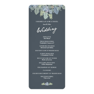 Pretty Blooms Vintage Gardens Wedding Program Personalized Announcement