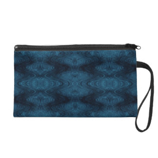 Pretty Blue and Black Abstract Wristlet Purse