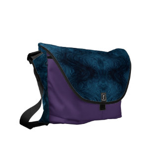 Pretty Blue and Black Abstract Messenger Bag