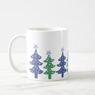 Pretty Blue and Green Christmas Trees Mugs