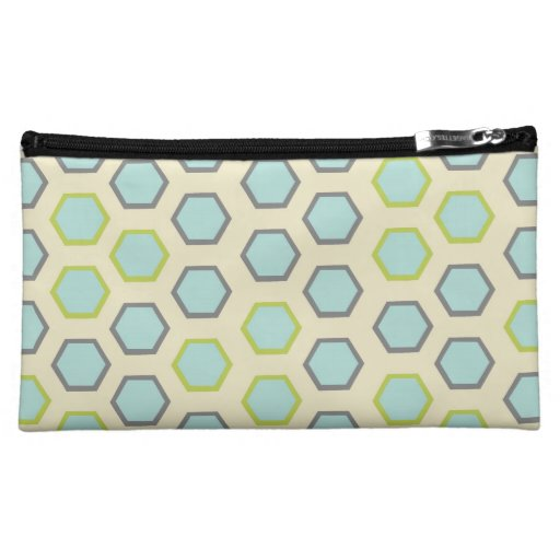 Pretty Blue and Lime Green Hexagon Tile Pattern Makeup Bags