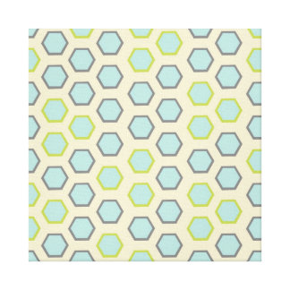 Pretty Blue and Lime Green Hexagon Tile Pattern Gallery Wrap Canvas
