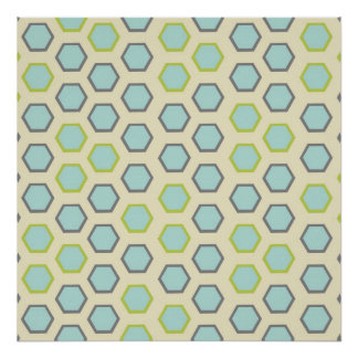 Pretty Blue and Lime Green Hexagon Tile Pattern Poster