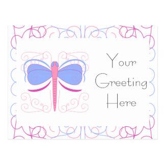 Pretty Blue And Magenta Dragonfly Postcard