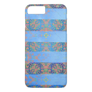 Pretty Blue and Peach Floral Striped iPhone 7 Plus Case