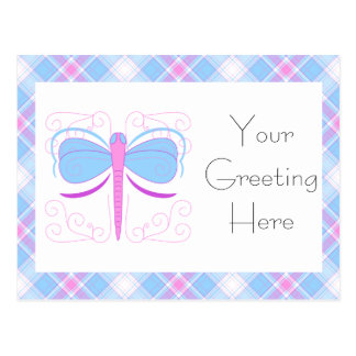 Pretty Blue And Purple Dragonfly Postcard