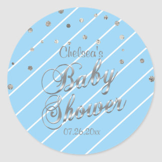 Pretty Blue and Silver - Baby Shower Classic Round Sticker