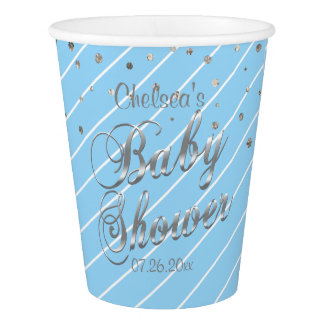 Pretty Blue and Silver - Baby Shower Paper Cup