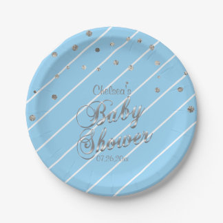 Pretty Blue and Silver - Baby Shower Paper Plate