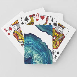 Pretty Blue and Teal Agate Geode Stone on Blue Playing Cards