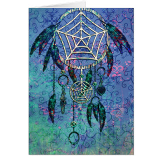 Pretty Blue and Teal Pastel Feather Dreamcatcher Greeting Card