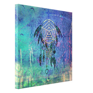 Pretty Blue and Teal Pastel Feather Dreamcatcher Stretched Canvas Print