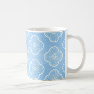 Pretty Blue and White Floral Quatrefoil Pattern Coffee Mug