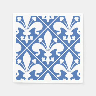 Pretty Blue and White French Fleur de Lys Paper Serviettes