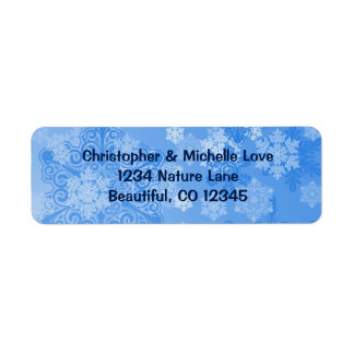 Pretty Blue and White Snowflakes Winter Address Return Address Label