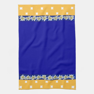 Pretty Blue and Yellow Edelweiss Kitchen Towel