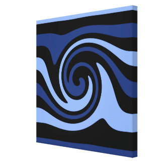 Pretty blue artistic swirl stretched canvas prints
