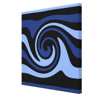 Pretty blue artistic swirl stretched canvas prints