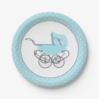 Pretty Blue Baby Buggy Baby Shower Paper Plate 7 Inch Paper Plate